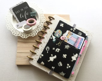 Alice in Wonderland Pocket Planner Pouch, Planner Band - Fits Kikki K A5, Filofax, Erin Condren Life Planner, Happy Planner