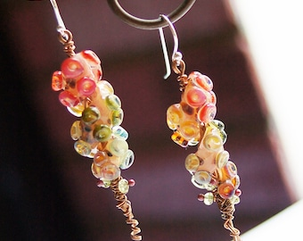 Rainbow Tentacle Peridot Boro Lampwork Copper Sterling Silver Earrings