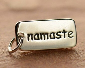 Namaste charm. Sterling silver tag. Yoga Charm. Yoga jewelry. DIY add to your necklace or bracelet