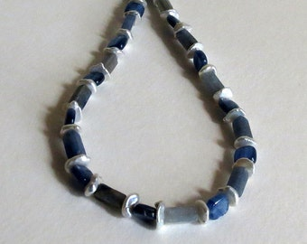 Necklace with Blue Kyanite, Keshi Pearls and Sterling Silver, Statteam