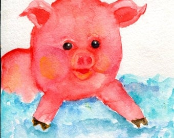 Pig watercolor painting original, Happy Pig swimming in the Ocean, Small Original Pig Art, 4 X 6 whimsical pig artwork