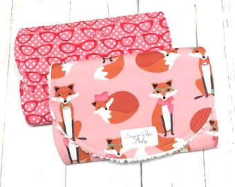 Burp Cloths for Baby Girl  - Set of 2 - Super Absobent Triple Layer Chenille  - Pink, Red, Glasses, Fox - FABULOUS PINK FOXES