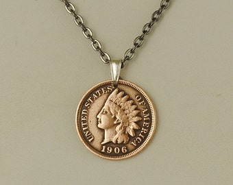 Indian Head Penny Coin Necklace 1906