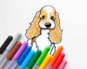 Matted Original Art KiniArt Cocker Spaniel Puppy Drawing
