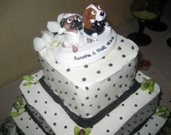 Dog Cat Wedding Cake Topper Bride Groom Special Theme Custom Sculpture