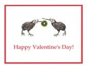 Kiwi Bird Art Valentines Day Greeting Card Note Card  Romantic kiwi fruit heart Anniversary Australia New Zealand valentine