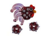 Mini Purple Rooster Set (3) - Glass Lampwork Chicken Bead and 2 Polka Dot Spacers