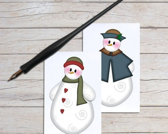 Gift Card Holder, Holiday Gift Enclosure Cards, Blank Note Card Set, Christmas Mini Notecards, Snowman Patterns, Unique Art Cards, Set of 10