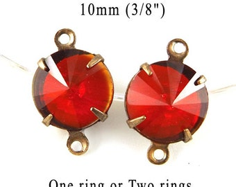 Red Glass Beads, Patina Brass Settings, 10mm, Set Stones, One or Two Rings, Sheer, Rhinestone Jewels, Rivoli, Glass Gems or Charms, One Pair