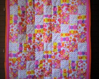 Super Fun Geometric Print Baby / Child Quilt pink, purple, yellow, and orange #205