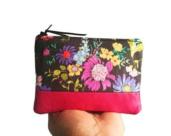English Garden Black Floral Leather Coin Purse, Zipper Pouch, Small Change Purse, Black Floral Leather Wallet, 144 Collection