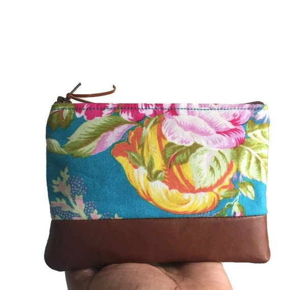 Turquoise Floral Leather Pouch, Coin Purse, Change Purse, Leather Zipper Pouch, Change Wallet, Small Leather Purse