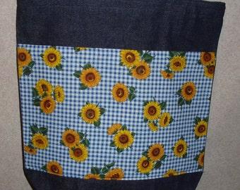 New Large Handmade Sunflower Checks Denim Tote Bag