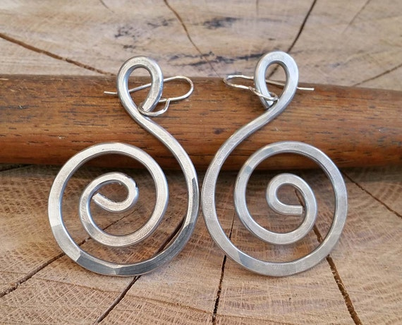 Aluminum Big Spiral Earrings - Swirl Dangle Earrings - Light Weight Aluminum Jewelry - Large Bold Hammered Metal Wire - Women
