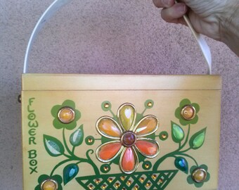 Vintage 1970s Box Purse 70s Enid Collins Jeweled Flower Box 2013691
