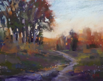 Fall Autumn Late Afternoon  Landscape Original Pastel Painting 9x12