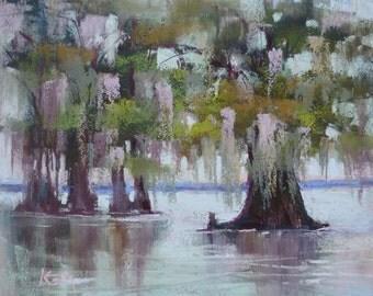 Louisiana Landscape Bayou,swamp Landscape  Original Pastel Painting Karen Margulis Cypress Trees
