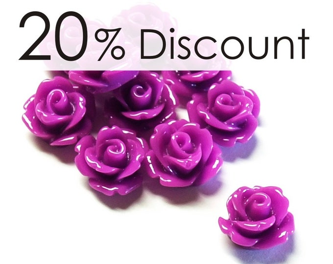 RSCRS-10OR - Resin Cabochon, Rose 10mm, Orchid - 50 Pieces (5pk)