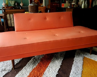 Mid Century Day Bed Sofa Orange Faux Leather Pleather