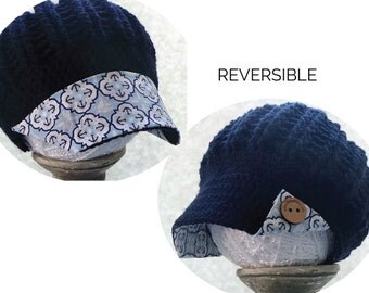 Mothers day gift hat navy newsboy anchor fabric brim wood buttons baseball cap crochet hat gifts for her nautical gift summer hat