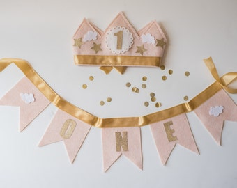PARTY PACK Crown & Bunting - Pink and Gold First Birthday Crown - Stars and Clouds Girl Birthday Party Hat - Smash Cake