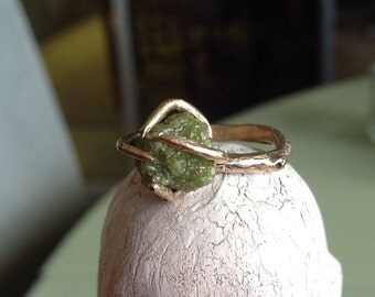 14k gold ring green diamond rough diamond ring raw diamond ring - Overgrown