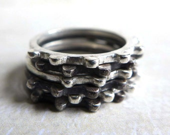 Sterling Stacking Rings, Gears Stacking Ring Set of 6, Industrial Silver Stacking Rings, Dimensional Textured Stacking Rings
