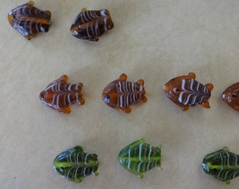 Destash - US Shipper - Handmade Lampwork Fish Beads - 20mm by 25 mm