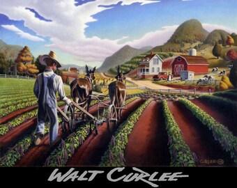 Folk Art Farm Landscape Signed Print of Painting, Farmer Cultivating Peas, Summer Mountain Landscape, Americana Decor,Appalachian