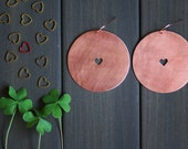 NEW Val Earrings - Statement copper 2in bold round with heart brushed