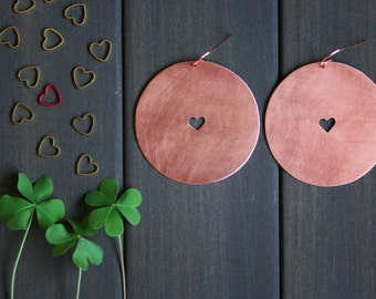 Val Earrings - Valentine statement jewelry valentines day gift romantic earring big disc pink copper heart minimal cutout jewelry lover gift