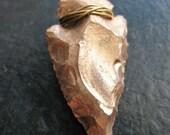 Hand Knapped Patina Churt Stone Arrowhead Pendant  in Gold