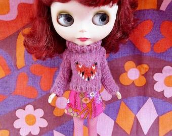 Handmade Blythe Fox Sweater Set - Pink
