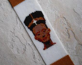 Nefertiti Cuff Bracelet, Peyote Stitch With Tube Slide Clasp