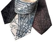 New York City Map Necktie. Lower Manhattan, NYC streets & subway map tie. Silkscreen print men's tie. Choose narrow or standard size.
