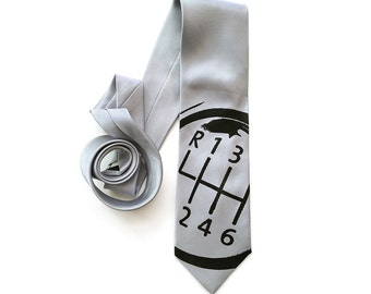 Shifter Knob Necktie. Car guy gift, automotive theme tie. Men's gear shift necktie, silkscreened woven microfiber. Choose silver & more.