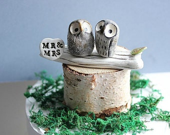Clay Owl Cake Topper -Owl Cake topper - Mr and Mrs cake topper - Owl cake topper - Owls - MADE TO ORDER