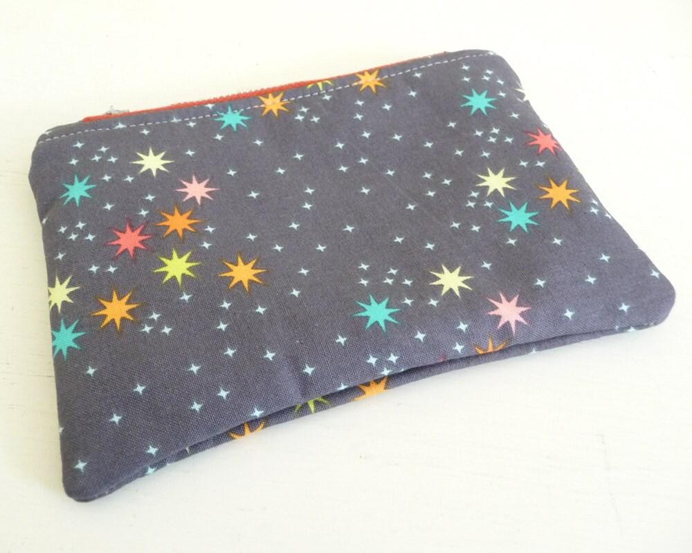Little Stars Print Zippered Pouch Small makeup or Gadget Bag
