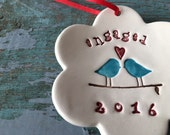 Engagement Gift Engaged 2016 Love Birds Christmas Ornament Keepsake