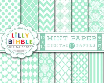 80% off MINT digital paper with chevron, stripes, polka dots, damask, baby, scrapbook papers, DIGITAL DOWNLOAD