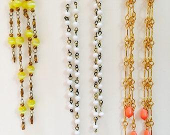 Yellow Love Boat Vintage Dangle Earrings