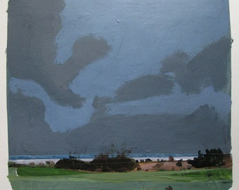 Lake Ontario, December 16, Original Landscape Collage Painting on Paper, Stooshinoff