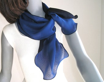 Small Blue Navy Scarf, Black Gray Scarf, Black Red Scarf, Small Neck Scarf, 2 Layers Pure Chiffon, Neck Scarf,  Reversible Scarf, Artinsilk.