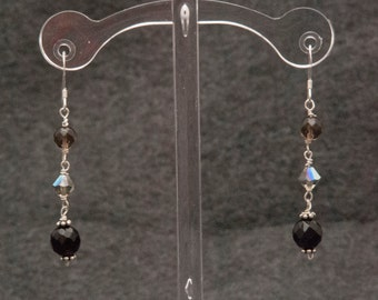 Sterling Silver, Black Onyx, Swarovski Crystals, and Smokey Quartz earrings