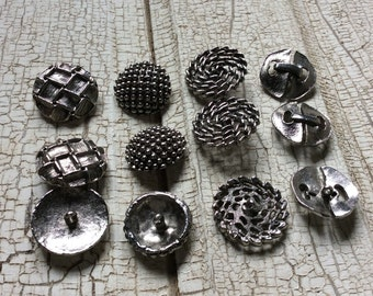 Silver Buttons,Large SilverTone Buttons,Lot of 12,Metal Button,New Old Stock,Funky Buttons, Coat Buttons
