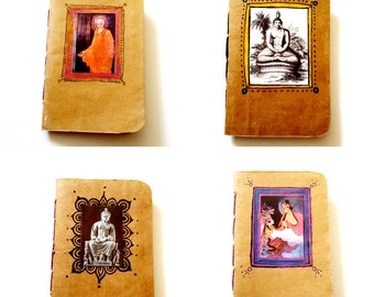 Recycled Upcyled Paper Grocery Bag Handbound Notebooks with Hand Drawn and Collage Art Buddha Siddhartha Cotama Harita