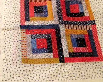 Three Log Cabin Fabric Pillow Panels