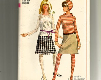 Simplicity Teens' and Juniors' Skirt In Two Lengths, Blouse, Hat and Stockings Pattern 6691
