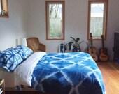 Hand Dyed Indigo Blanket, Shibori Bedspread, Queen Size, Anna Joyce, Portland, OR