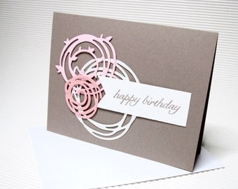 Happy birthday card handmade stamped glitter flat swirly pink stationery greeting party paper